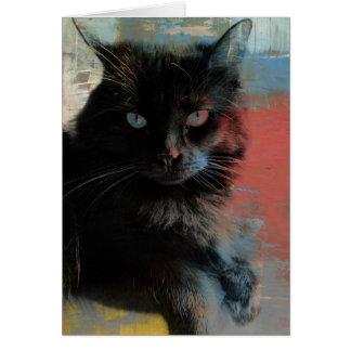 Arte popular, fondo azul blanco rojo del gato tarjeta pequeña