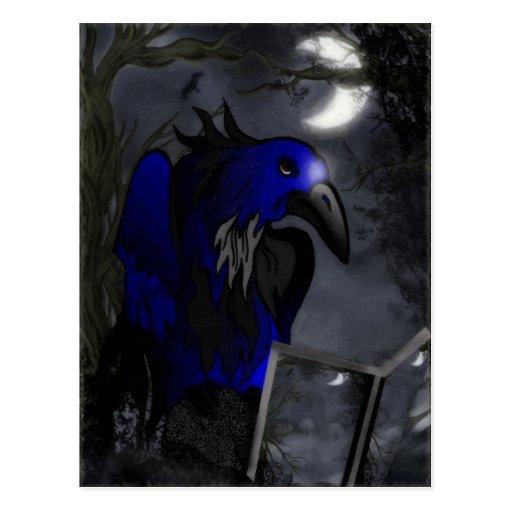 Arte popular gótico de la historia de un cuervo tarjeta postal
