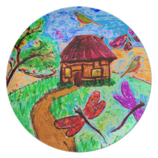 Arte popular imaginario en la placa de la cena/del platos