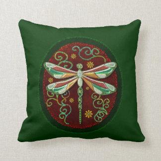 Arte popular Jeweled elegante 2 de la libélula Almohada