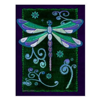 Arte popular Jeweled elegante de la libélula Tarjeta Postal