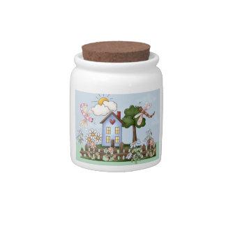 Arte popular lindo de la casa de campo y de la val jarra para caramelo