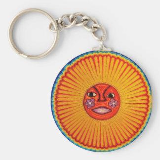 Arte popular mexicano de Sun del arte de la secuen Llavero Redondo Tipo Pin