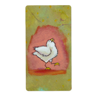 Arte popular moderno lindo del pollo de la etiqueta de envío