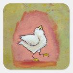 Arte popular moderno lindo del pollo de la calcomanía cuadradas personalizada