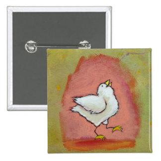 Arte popular moderno lindo del pollo de la pin cuadrada 5 cm