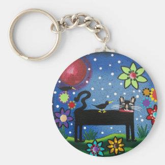 Arte popular por el gato de Lorri Everett con acti Llavero Redondo Tipo Pin