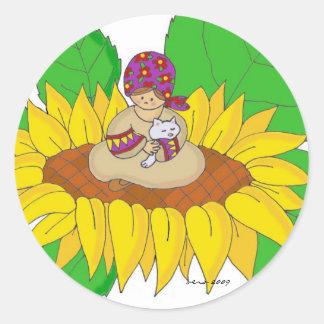 Arte popular ucraniano del chica del girasol pegatina redonda