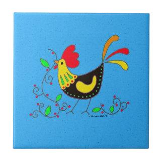 Arte popular ucraniano del gallo de la cocina azulejo cuadrado pequeño