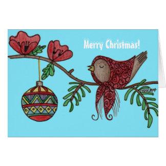 Arte popular ucraniano del navidad del pájaro del tarjeta de felicitación