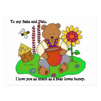 Arte popular ucraniano del oso de miel tarjetas postales