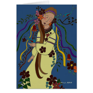 Arte popular ucraniano virginal del verano tarjeta de felicitación
