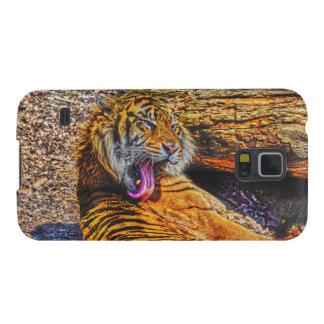 Arte Preening de la fauna del gato grande del Fundas De Galaxy S5