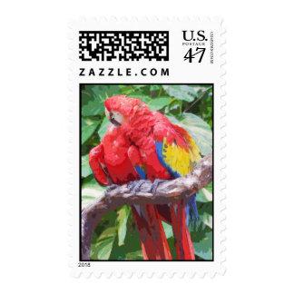 Arte Preening del Macaw del escarlata Sellos