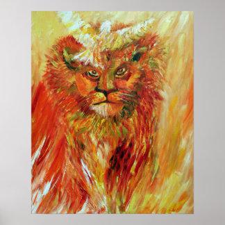 Arte profético del león y de la paloma - Jesús y E Póster