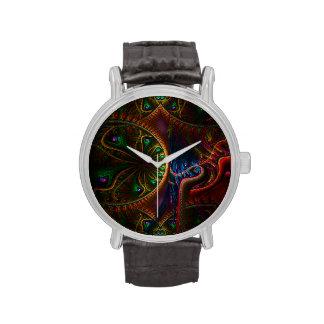 Arte psico del fractal de la llama de los engranaj reloj de mano