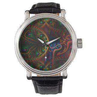 Arte psico del fractal de la llama de los relojes de pulsera