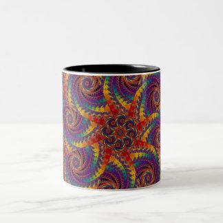 Arte psicodélico del fractal del arco iris del taza de dos tonos
