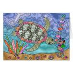 Arte psicodélico del Seahorse de la tortuga de mar Tarjeta De Felicitación