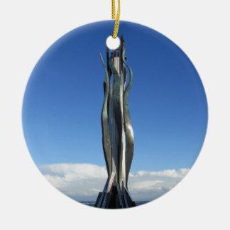 Arte público Redcar de las cuerdas de salvamento Adorno Navideño Redondo De Cerámica