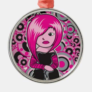 arte punky del vector del chica del emo del pelo adorno redondo plateado