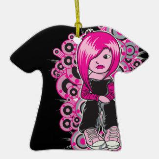 arte punky del vector del chica del emo del pelo adorno de cerámica en forma de playera