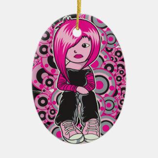 arte punky del vector del chica del emo del pelo adorno ovalado de cerámica