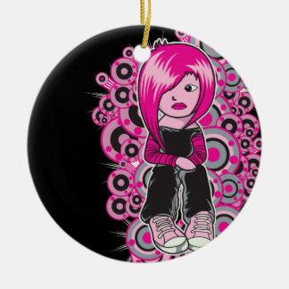 arte punky del vector del chica del emo del pelo adorno redondo de cerámica