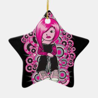 arte punky del vector del chica del emo del pelo adorno de cerámica en forma de estrella