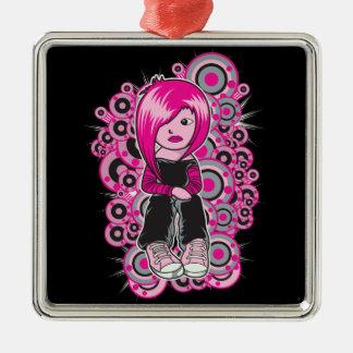 arte punky del vector del chica del emo del pelo adorno cuadrado plateado