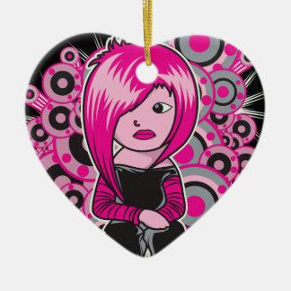 arte punky del vector del chica del emo del pelo adorno de cerámica en forma de corazón