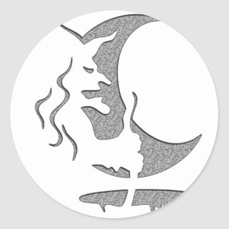 "Arte puntos grises/negros de la ""bruja malvada"" de pegatina redonda"