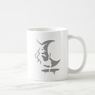 """Arte puntos grises/negros de la """"bruja malvada"""" de taza básica blanca"""