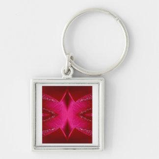 Arte puro del pétalo color de rosa - n roja sangre llavero cuadrado plateado