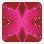 Arte puro del pétalo color de rosa - n roja sangre calcomania cuadradas personalizadas