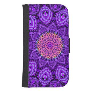 Arte púrpura adornado del caleidoscopio de las fundas billetera para teléfono