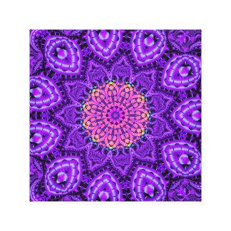 Arte púrpura adornado del caleidoscopio de las lienzo envuelto para galerías