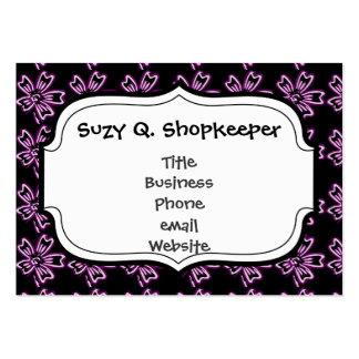Arte púrpura bonito de la flor en estampado de tarjetas de visita grandes