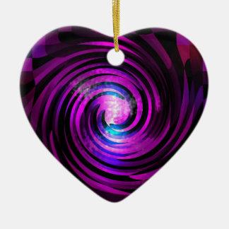Arte púrpura de Abstraact de la onda Adorno Navideño De Cerámica En Forma De Corazón
