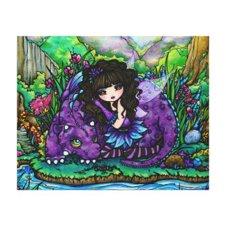 Arte púrpura de hadas de la lona del cuarto de niñ impresión en lienzo estirada