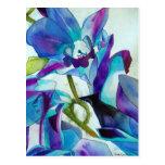 Arte púrpura de la acuarela de la flor de la orquí postales