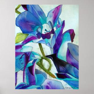 Arte púrpura de la acuarela de la flor de la póster