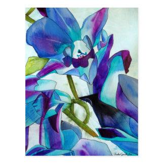 Arte púrpura de la acuarela de la flor de la tarjeta postal