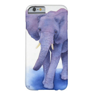 ¡arte púrpura de la acuarela del elefante en funda de iPhone 6 barely there