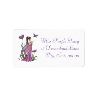 Arte púrpura de la fantasía de la hada y de la etiqueta de dirección
