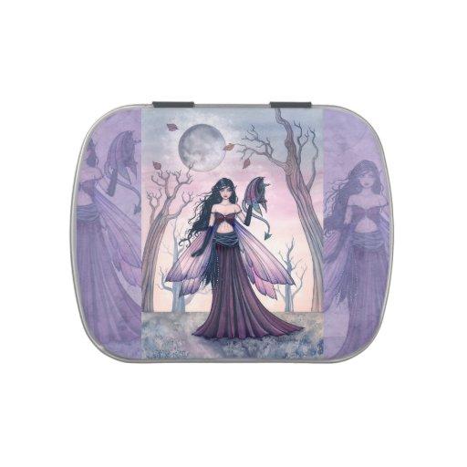 Arte púrpura de la fantasía de la hada y del dragó frascos de dulces