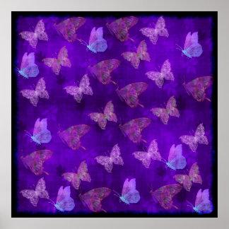 Arte púrpura de la mariposa posters