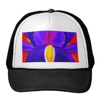 Arte púrpura de la pintura de la flor del iris - m gorros bordados