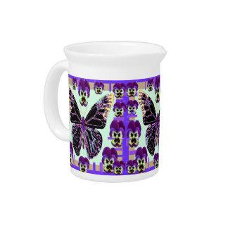 Arte púrpura de los pensamientos de la mariposa jarra de beber
