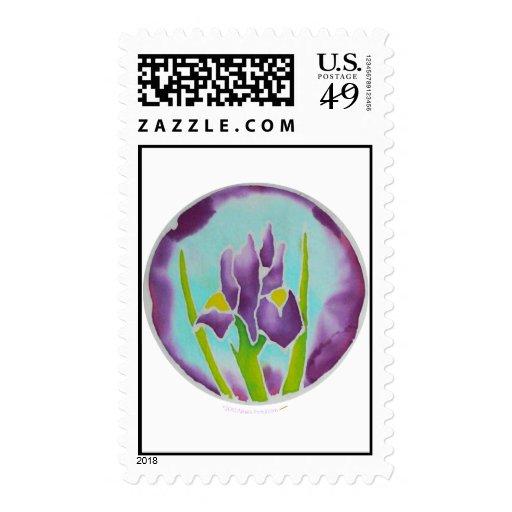 Arte púrpura del batik de la flor del iris sellos